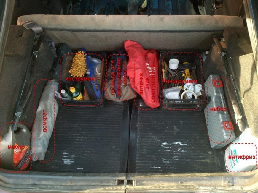 Как разместить инструмент в багажнике